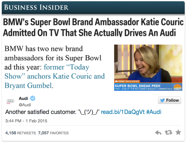 Audi Superbowl Katie Couric Tweet