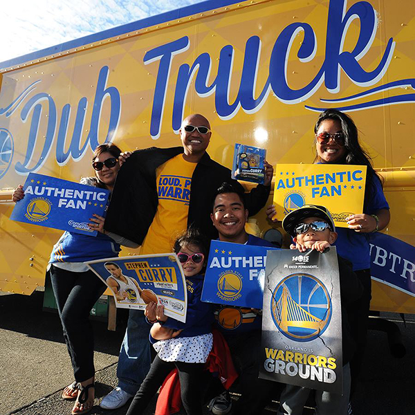 Golden State Warriors Dub Truck Fans in parking lot